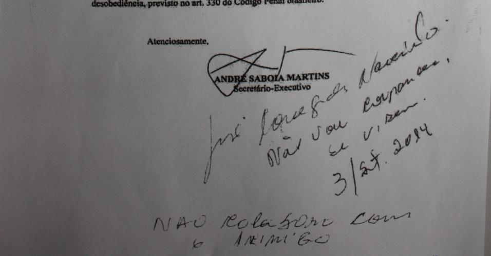 8.set.2014 - Documento de convocação do tenente José Conegundes do Nascimento para comparecer para depor à Comissão Nacional da Verdade e a resposta manuscrita por ele informando que não compareceria
