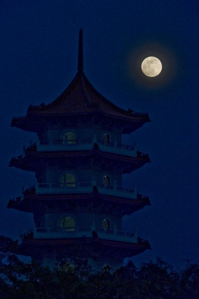 8.set.2014 - Lua cheia brilha sobre jardim chinês em Cingapura. A população local comemora o festival do Meio-Outono nesta segunda-feira