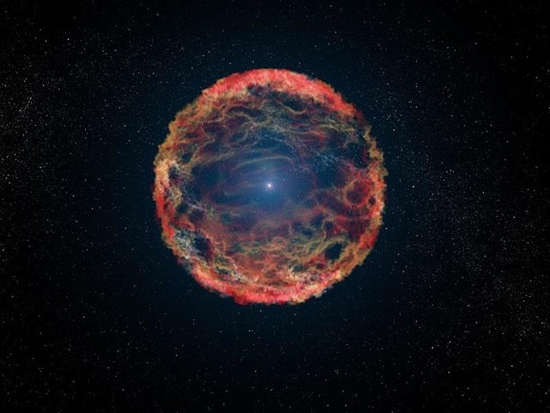 9.set.2014 - Impressão gráfica da supernova 1993J, que explodiu na galáxia M81. Usando o telescópio espacial Hubble, os astrônomos da Nasa identificaram a estrela companheira, vista aqui no centro da nebulosa de destroços em que vai se expandindoa partir da supernova