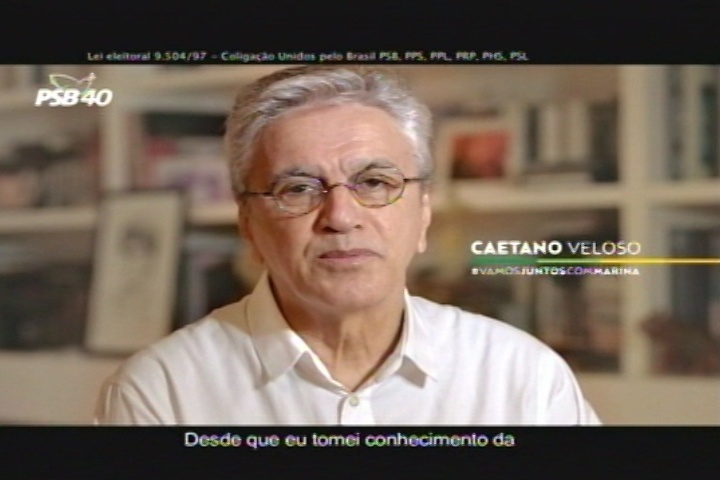 O cantor Caetano Veloso apareceu na propaganda eleitoral de Marina Silva pedindo votos para a candidata do PSB à Presidência