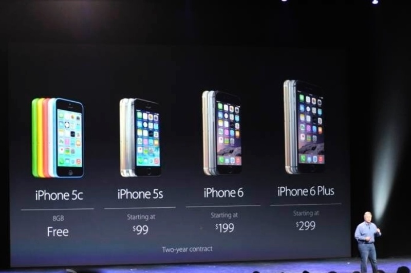 Preços dos novos produtos iPhone 6 e iPhone 6 Plus, com telas de 4,7 e 5,5 polegadas, respectivamente. Ambos os dispositivos usam a Retina HD, tela de alta resolução