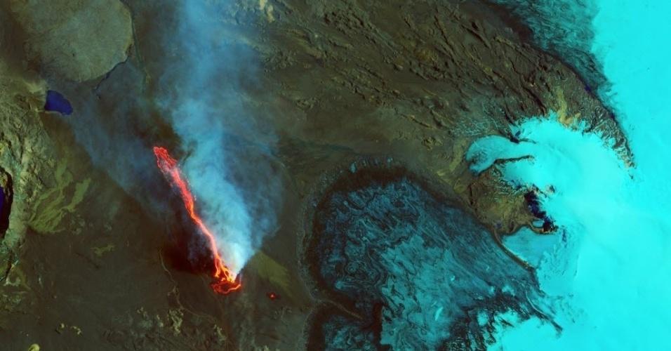 10.set.2014 - Imagem tirada do espaço e divulgada pelo observatório da Nasa mostra vulcão Holuhraun em erupção na Islândia, no dia 6 de setembro. Imagem foi divulgada nesta quarta-feira (10). A Nasa alterou a foto original e coloriu a imagem para deixar os elementos mais visíveis. O gelo, vapor e o dióxido de enxofre aparecem em ciano e azul brilhante, enquanto a água líquida aparece em azul marinho. Terre e solo rochoso aparecem em tons de verde e marrom, enquanto a lava é representada na cor laranja e vermelho. O vulcão Holuhraun expeliu mais lava este mês do que qualquer vulcão islandês desde o século 19. Desde a última terça-feira (9), o fluxo de lava foi de 16 km de comprimento e cobriu cerca de 20 quilômetros quadrados, de acordo com a Universidade da Islândia