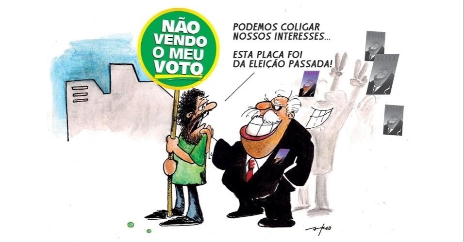 11.set.2014 - O chargista Fred ironiza as coligações de partidos que mudam a cada eleição no país