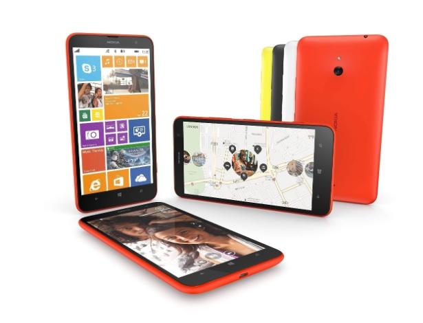 Nokia Lumia 1320 (Tela: 6 polegadas).  A tela possui resolução de 1280 x 720 pixels, processador dual-core de 1,7 Ghz, memória RAM de 1 GB, câmera de 5 megapixels e sistema operacional Windows Phone 8.1. Ele pesa 220 g