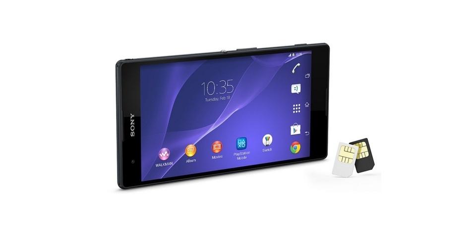 Sony Xperia T2 Ultra Dual (Tela: 6 polegadas). Outro aparelho ?gigante? da Sony, o T2 Ultra Dual é uma versão mais barata que o Z Ultra por não ter suporte a internet 4G. No entanto, o phablet pode ser usado com dois chips de operadoras. No Brasil, ele é vendido a partir de R$ 1.299