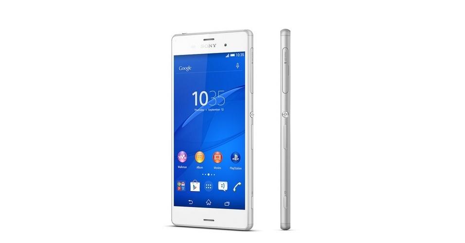 Sony Xperia Z3 (Tela: 5,2 polegadas). Com resolução Full HD), o Z3 traz ainda estrutura em alumínio superfina com 7,3 mm de espessura e pesa 152g. O processador dele é quad-core da Qualcomm (Snapdragon 801) com 2.5 GHz quad-core CPU com suporte a internet 4G. O aparelho roda Android 4.4