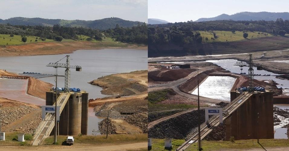 11.set.2014 - Montagem mostra a evolução da captação do 'volume morto' do sistema Cantareira, em Joanópolis (SP).  A foto da esquerda é do dia 13 de maio de 2014, época da obra no local. A foto da direita foi registrada no dia 5 de setembro
