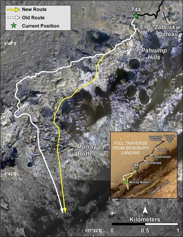 """CURIOSITY CHEGA A MONTANHA DE MARTE - A sonda Curiosity da Nasa chegou ao monte Sharp que fica no centro da vasta cratera de Gale, em Marte, principal destino da sua missão de longo prazo. """"Curiosity começará agora um novo capitulo da sua introdução já considerada excelente no planeta vermelho"""", afirma o diretor da Divisão Planetária da Nasa, Jim Green.  A imagem mostra antigas e novas rotas do Curiosity. A nova oferece excelente acesso a muitos recursos na formação de Murray"""