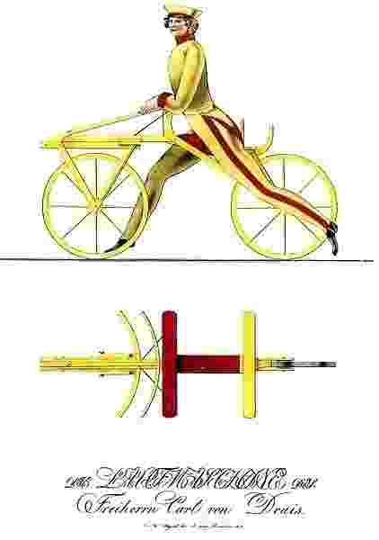 """12.set.2014 - A bicicleta, o meio de transporte mais popular do mundo, é considerada uma invenção do alemão Barão Karl von Drais, no início do século 19. Em 1817, ele criou um brinquedo que, sem pedal, era formado por duas rodas ligadas por uma haste de madeira, em que o """"piloto"""" se movimentava fazendo tração com os pés - Reprodução/Wikipedia"""