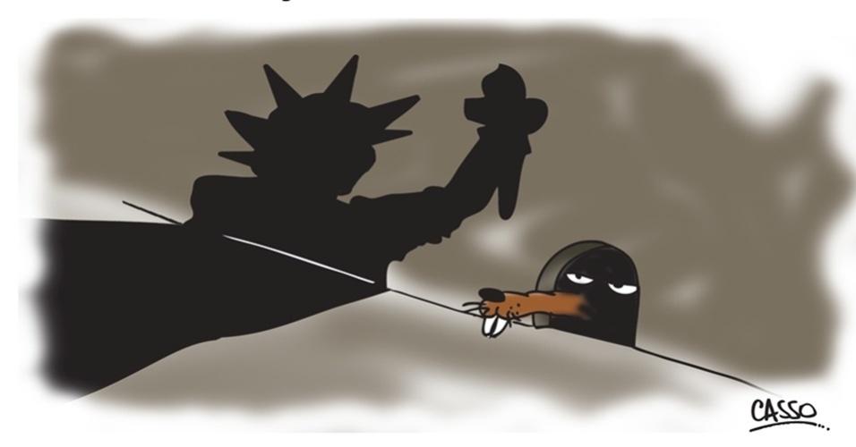 12.set.2014 - O chargista Casso ironiza o pronunciamento do presidente Barack Obama, feito na última quarta-feira (10), sobre querer armar e treinar grupos rebeldes que lutam contra o regime do ditador sírio, Bashar al-Assad, para que enfrentem os jihadistas do EI (Estado Islâmico)