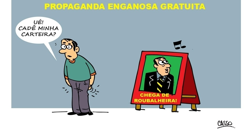 15.set.2014 - O chargista Casso ironiza as propagandas eleitorais