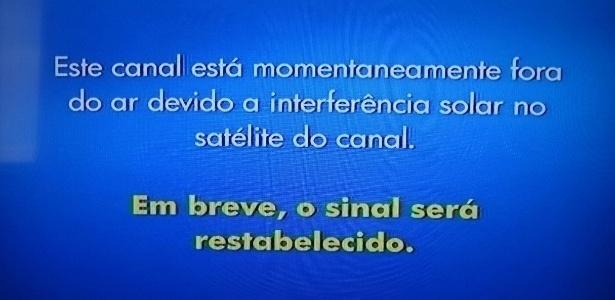 APAGÃO EM EMISSORA DE TV - Uma interferência solar provocou no início da tarde desta sexta-feira (12) um