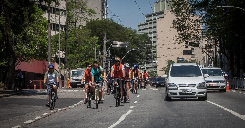 14.set.2014 - Integrantes da Guarda Civil Municipal (GCM) iniciam programa para pedalar pelo centro da capital paulista pelas ciclofaixas e ciclovias. A iniciativa tem por objetivo educar ciclistas e motoristas sobre os procedimentos de segurança