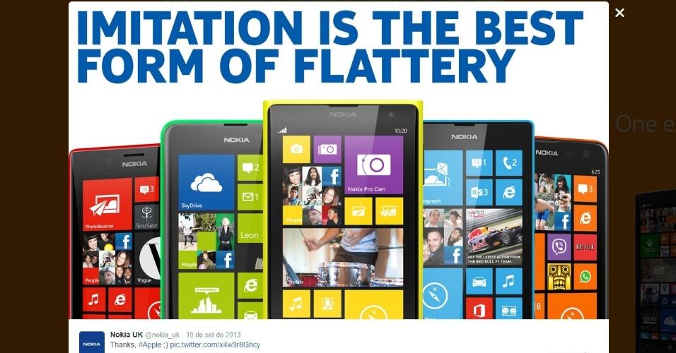 """Nokia. No lançamento do iPhone 5c em 2013, o perfil oficial da Nokia do Reino Unido postou a mensagem acima. """"Imitação é a melhor forma de homenagem"""", em tradução livre. Na época, a Apple começou a vender aparelhos com cores diferentes. Algo que a Nokia já havia feito com sua linha de dispositivos Lumia"""