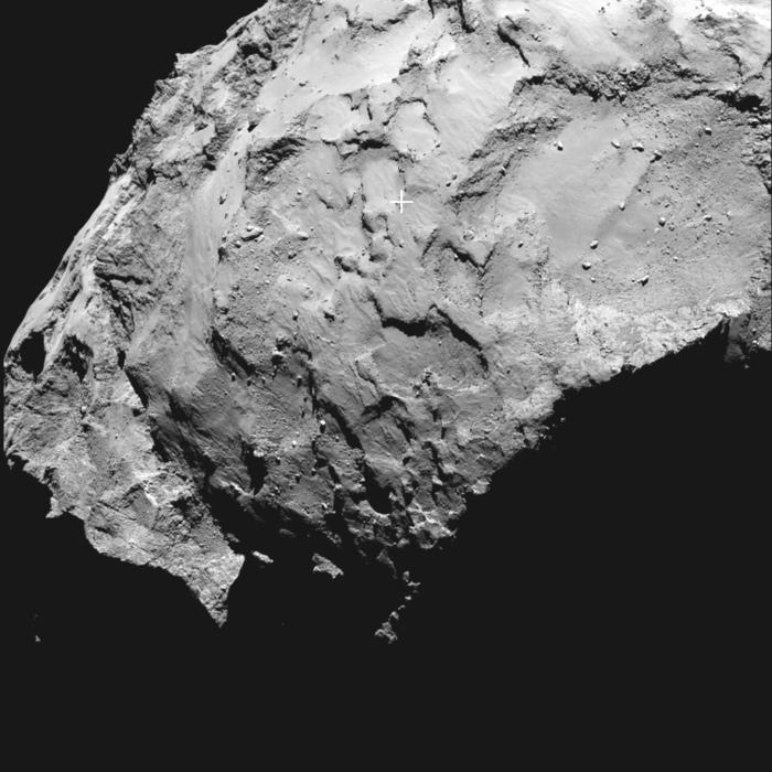 PONTO J - A sonda Rosetta já possui um alvo para pouso no cometa 67P/Churyumov-Gerasimenko. Trata-se do ponto J (marcado com uma cruz na imagem), onde o módulo Philae deve tentar descer em 11 de novembro. O ponto J está localizado na