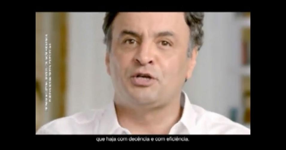 """Propaganda de Aécio Neves (PSDB), candidato à Presidência, 23 de agosto: """"E tudo isso é possível quando você tem um governo que 'haja' com decência e com eficiência.""""  'Haja', na verdade, é uma conjugação do verbo 'haver'; o correto seria 'aja', de 'agir'"""