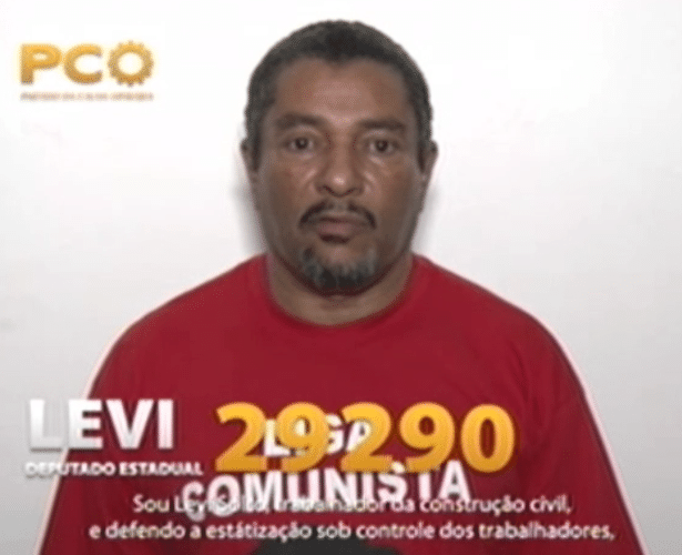 """Propaganda de Levi (PCO), candidato a deputado estadual em São Paulo, 15 de setembro: """"Defendo a 'estátização' sob controle dos trabalhadores"""". O acento é indevido; o correto é 'estatização'"""