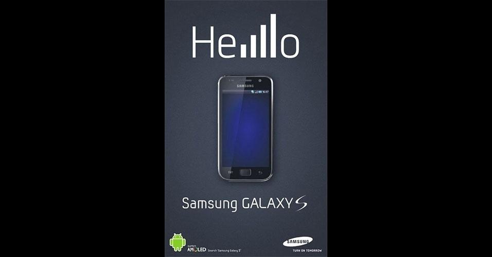 """Samsung. No lançamento do iPhone 4, houve uma série de críticas à Apple, pois dependendo de como o aparelho era segurado, as barras de sinal de operadora sumiam. Aproveitando esse fato, a Samsung lançou a propaganda acima, em que a palavra """"Hello"""" (olá) foi escrita com o sinal cheio de conexão com a operadora"""
