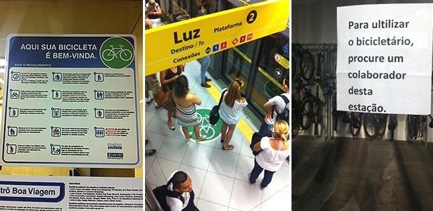Sinalização do metrô de SP para o uso de bicicletas