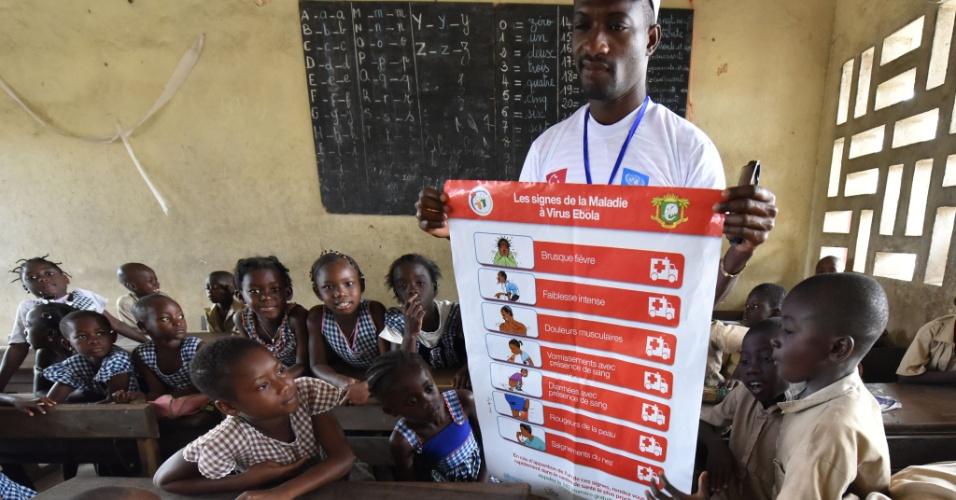 15.set.2014 - Estudantes de uma escola primária no bairro popular de Koumassi, em Abidjan (capital econômica da Costa do Marfim), olham cartaz com informações sobre a prevenção do Ebola. A campanha de sensibilização contra o vírus faz parte do Pnud (Programa das Nações Unidas para o Desenvolvimento). O surto de Ebola tem devastado a África Ocidental e já matou mais de 2,4 mil pessoas, de acordo com a última atualização da Organização Mundial de Saúde