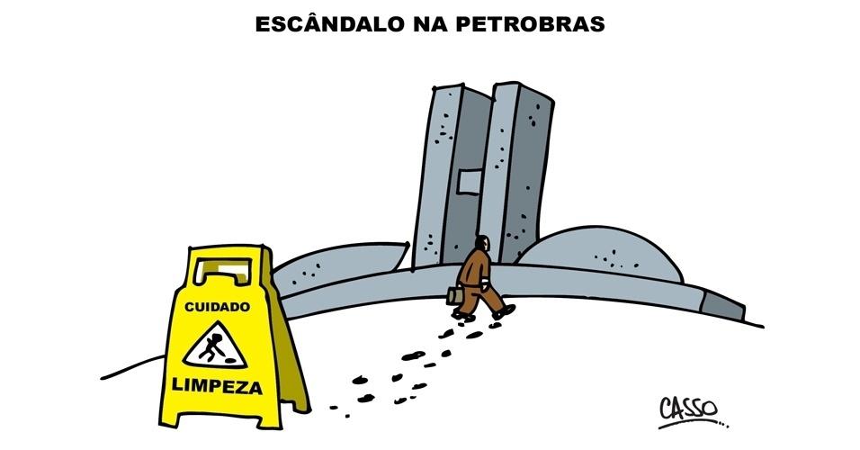 17.set.2014 - O chargista Casso ironiza a crise na Petrobras