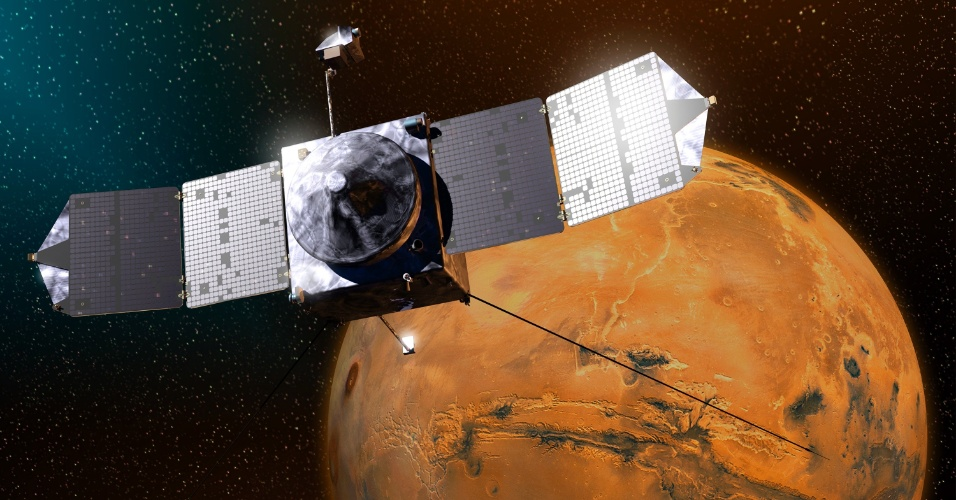17.set.2014 - A sonda Maven chegará a Marte no dia 22 de setembro, segundo estimativas dos técnicos da Nasa. Nesta ilustração, a Maven prepara-se para pousar no chamado