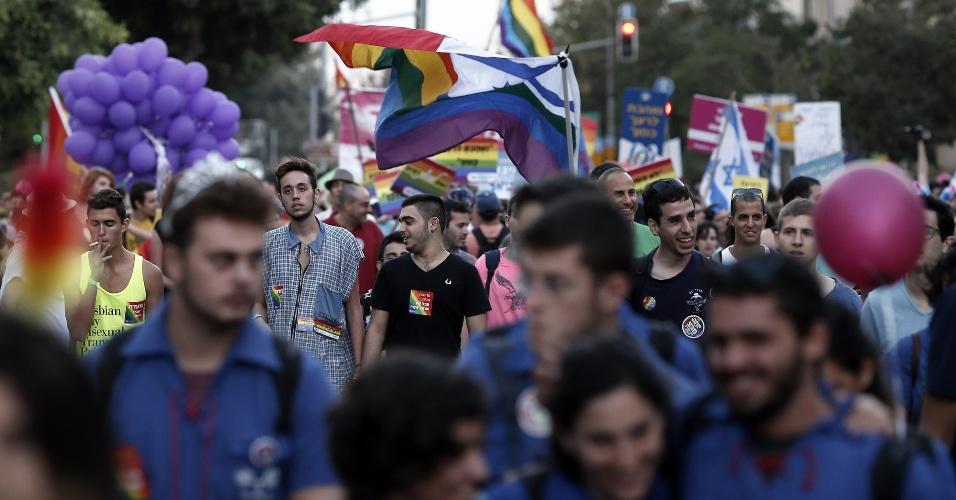18.set.2014 - Israelenses participam do 12º aniversário da parada do Orgulho Gay em Jerusalém
