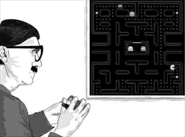 """20.set.2014 - Os cartunistas James Carr e Archana Kumar criaram as histórias em quadrinhos do """"Hipster Hitler"""" (algo como Hitler """"moderninho""""). Segundo os autores, """"as tiras satirizam a cultura moderna e o Terceiro Reich, usando humor negro e paródias"""". Nesta imagem, o """"führer"""" (líder, em alemão, forma como Hitler era chamado) joga Pac Man, um jogo clássico do Atari, videogame famoso nos anos de 1980 - Reprodução/ hipsterhitler.com"""