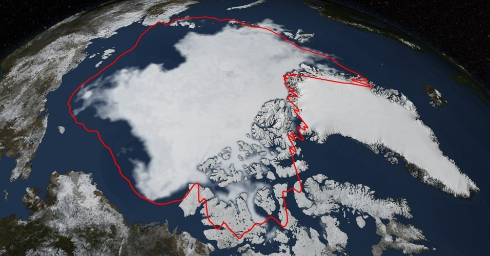 22.set.2014 - GELO DO ÁRTICO - A cobertura de gelo do mar Ártico manteve sua tendência abaixo da média para este ano de acordo com o NSIDC (Centro Nacional de Informações Sobre Neve e Gelo, sigla em inglês, apoiado pela Nasa), da Universidade do Colorado (EUA), em imagem feita no dia 17 de setembro.  Durante o verão de 2014 (no hemisfério norte), o gelo do mar Ártico derreteu do ponto máximo atingido em março para uma área coberta de 5,02 milhões de quilômetros quadrados. Este ano, a extensão mínima é semelhante a do ano passado, ambas abaixo da média registrada entre 1981 e 2010, que foi de 6,22 milhões de quilômetros quadrados. A linha vermelha nesta imagem mostra essa extensão mínima média