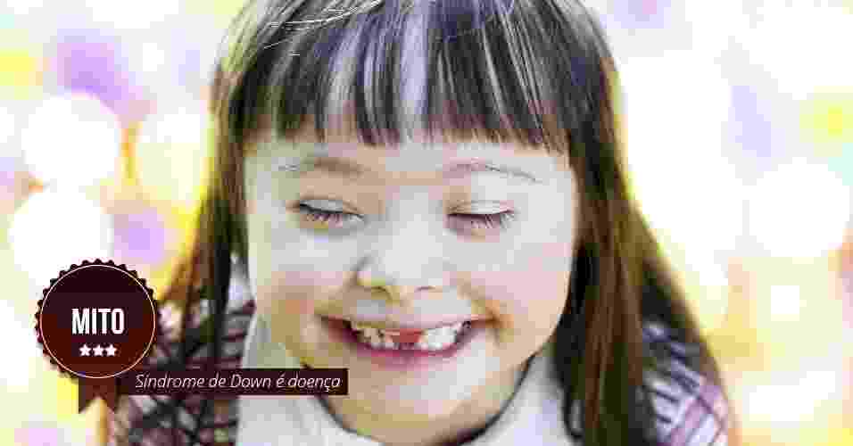 Síndrome de Down é doença. MITO: A Síndrome de Down é uma alteração genética na qual a pessoa possui três cromossomos 21 ao invés de dois. As pessoas sem a síndrome têm 46 cromossomos em suas células e as com Síndrome de Down tem 47. Este cromossomo a mais nas células é responsável por algumas características físicas e também pela maior prevalência de alguns problemas de saúde. A Síndrome de Down é citada na Classificação Internacional de Doenças e Problemas Relacionados à Saúde (CID-10) como uma anomalia cromossômica, não doença - Thinkstock/Arte UOL