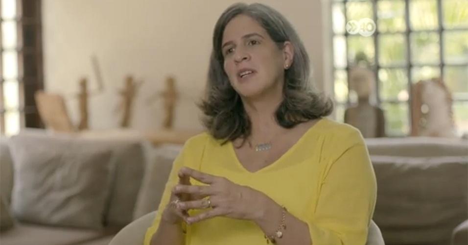 22.set.2014 - Renata Campos, viúva de Eduardo Campos, morto em acidente aéreo em agosto, durante a campanha presidencial, deu um depoimento para o horário eleitoral de Paulo Câmara (PSB), candidato ao governo de Pernambuco. Após a morte de Campos, Câmara passou a subir nas pesquisas