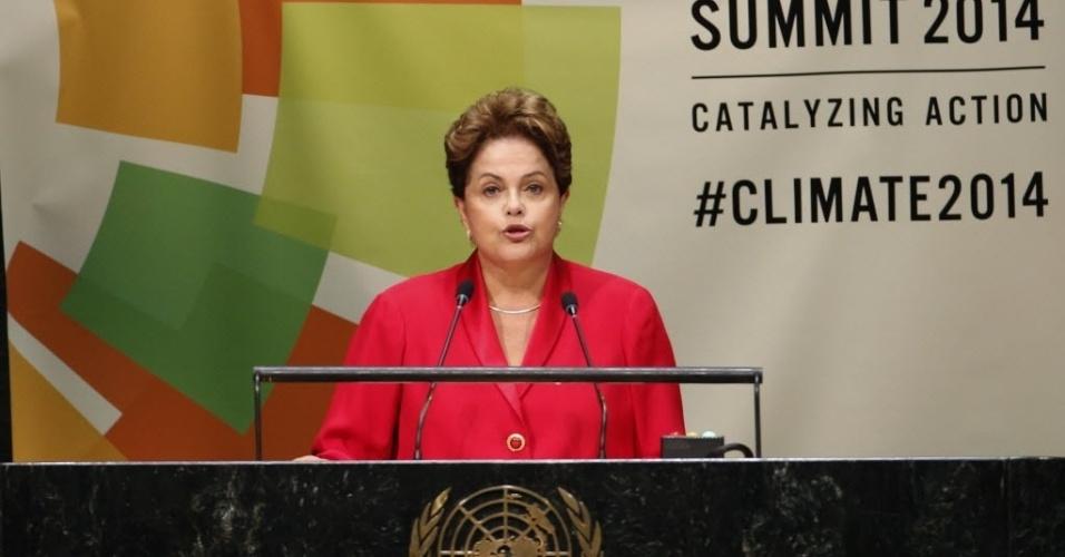 23.set.2014 - A presidente Dilma Rousseff discursa durante Conferência do Clima, em Nova York (EUA), nesta terça-feira (23)