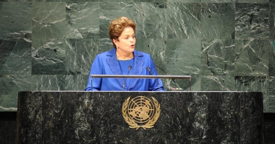 24.set.2014 - A presidente Dilma Roussef, candidata à reeleição pelo PT, discursa na abertura da 69ª Assembleia Geral das Nações Unidas (ONU), nesta quarta-feira (24). A presidente criticou a realização de intervenções militares, como a que os Estados Unidos iniciaram recentemente no Iraque e na Síria, e voltou a criticar a ofensiva israelense na faixa de gaza