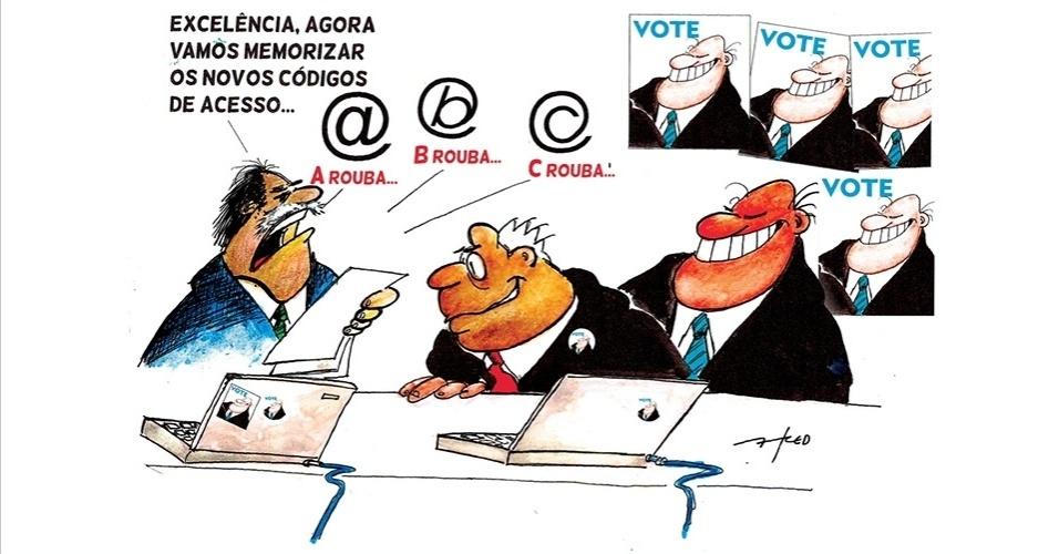 25.set.2014 - O chargista Fred ironiza as acusações de fraudes de toda ordem que envolvem a classe política durante uma campanha eleitoral