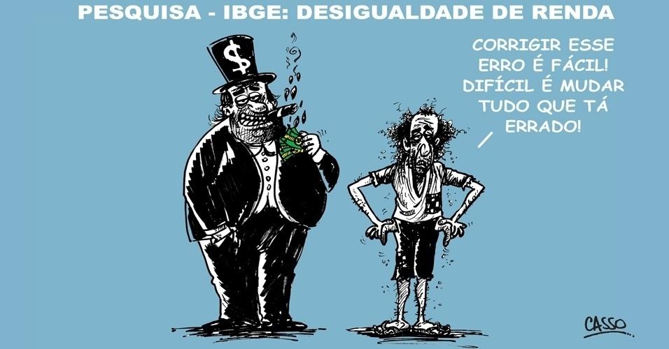 """26.set.2014 - O chargista Casso brinca com o fato do IBGE (Instituto Brasileiro de Geografia e Estatística) ter admitido um """"erro grave"""" na Pnad de 2013 e corrigir os números de desigualdade de renda no país"""