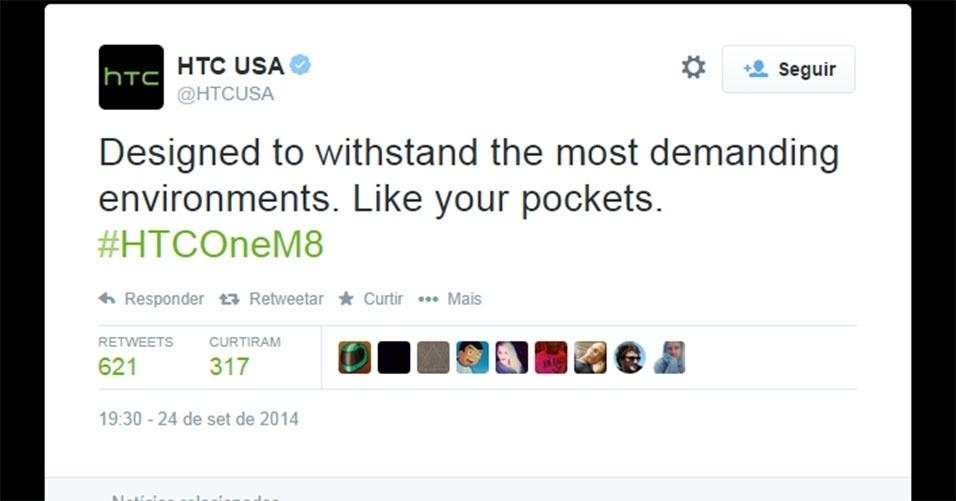 """HTC (2014). No Twitter, a companhia asiática ironizou o fato de alguns iPhones 6 Plus ficarem tortos ao deixá-los no bolso. O perfil postou: """"Feito para aguentar os mais diversos ambientes, como seus bolsos"""". Na publicação, a empresa se refere ao smartphone HTC One M8"""