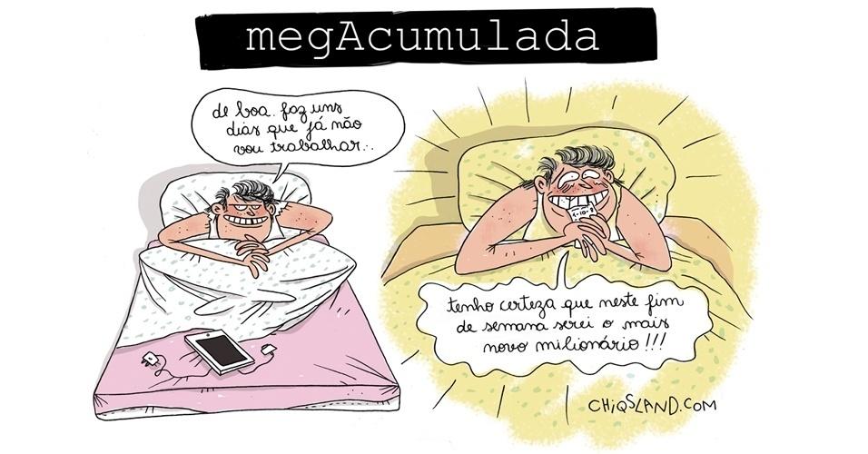 27.set.2014 - A chargista Chiquinha brinca sobre o fato de o sorteio da Mega-Sena ter acumulado, podendo pagar R$ 55 milhões