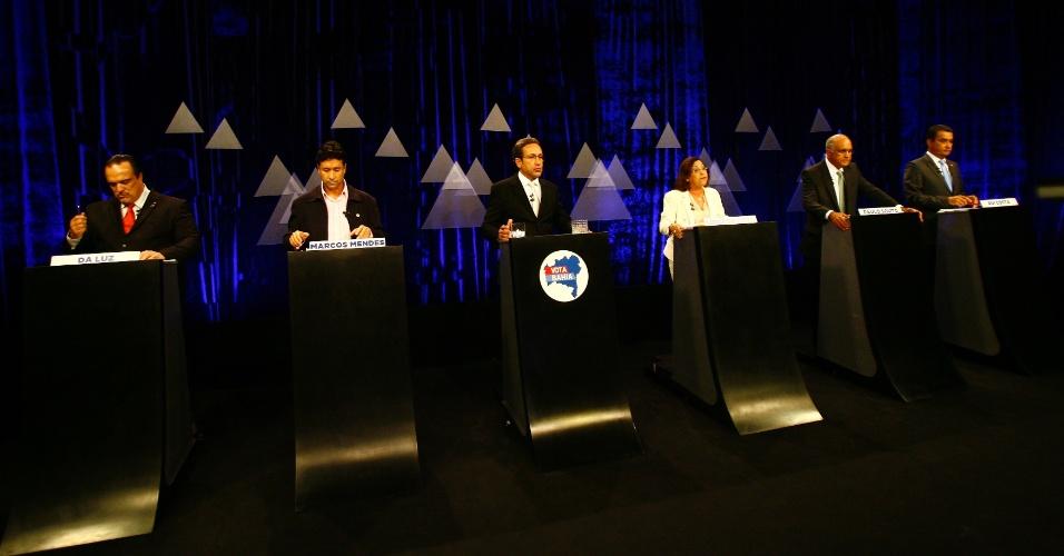 29.set.2014 - Candidatos ao governo da Bahia participam de debate promovido pela TV Aratu, emissora afiliada do SBT, em Salvador (BA), nesta segunda-feira