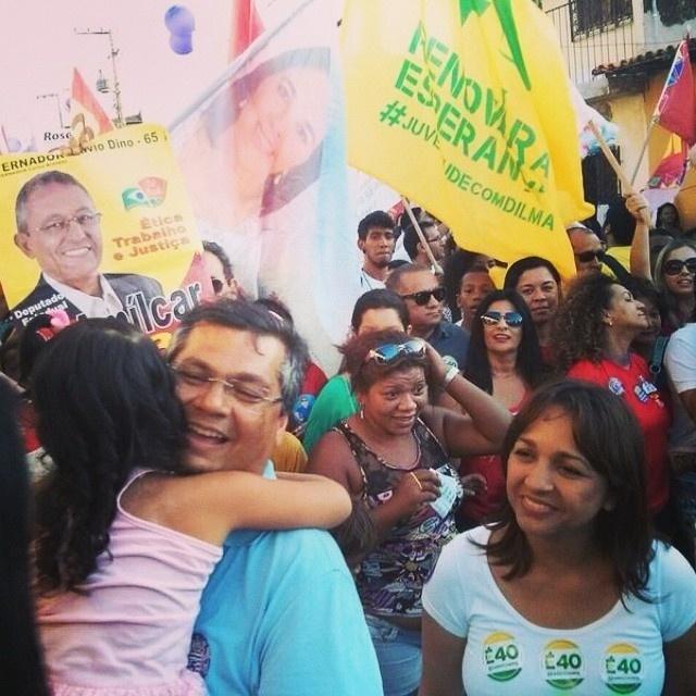2.set.2014 - O candidato ao governo do Maranhão pelo PCdoB, Flávio Dino, participou da Marcha das Mulheres