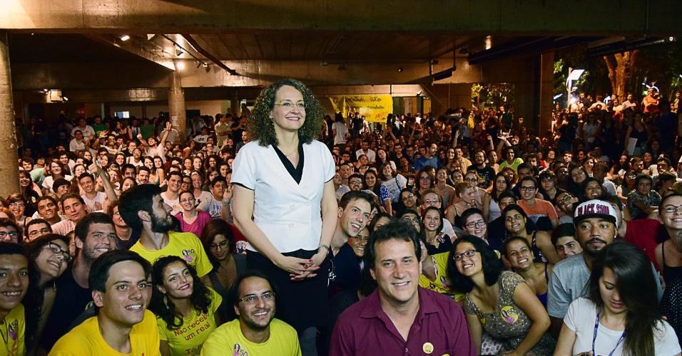 30.set.2014 - SP - A candidata do PSOL à Presidência da República, Luciana Genro, durante sabatina com estudantes da Unicamp na cidade Campinas, interior de São Paulo, nesta segunda-feira (29)