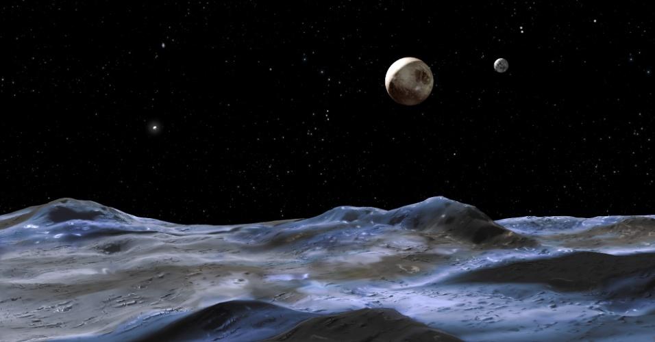 1º.out.2014 - PLUTÃO PODE VOLTAR A SER PLANETA - Concepção artística mostra Plutão a partir da superfície de uma de suas Luas descobertas em 2005. Plutão foi rebaixado em 2006 à categoria de