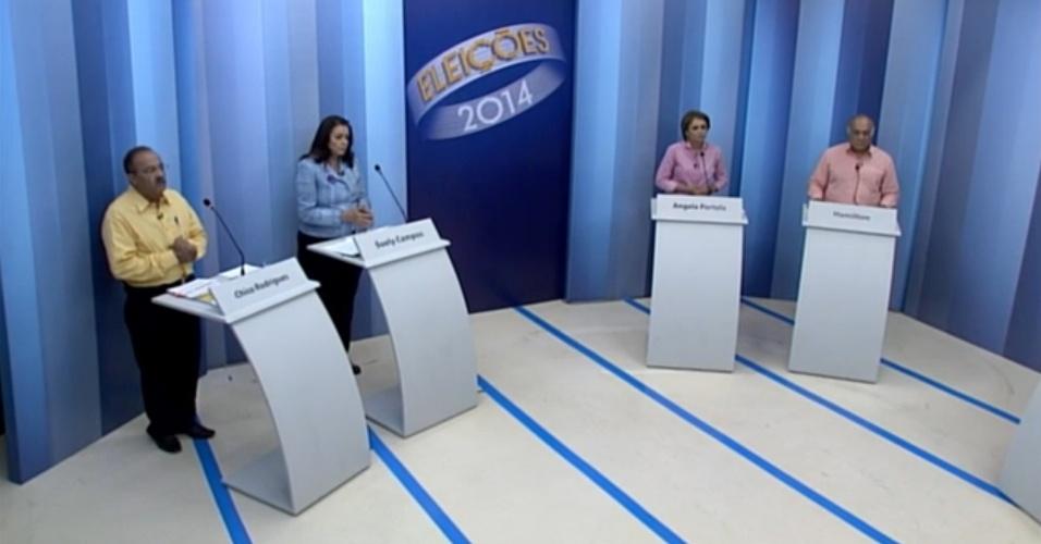 30.set.2014 - Candidatos ao governo de Roraima participaram de debate realizado pela TV Roraima, afiliada da Rede Globo, nesta terça-feira (30). Debateram Ângela Portela (PT), Chico Rodrigues (PSB), Hamilton (PSOL) e Suely Campos (PP)
