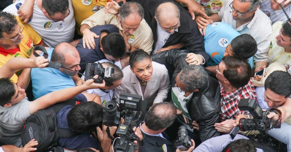 20.set.2014 - A candidata à Presidência da República, Marina Silva (PSB), cumpre agenda de campanha na Casa de Portugal, em Campinas, no interior de São Paulo