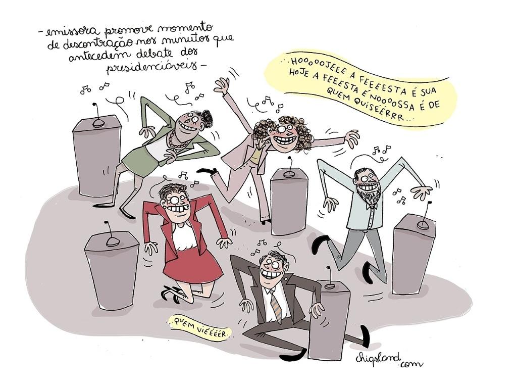2.out.2014 - A chargista Chiquinha imagina como os presidenciáveis devem estar se preparando para o debate