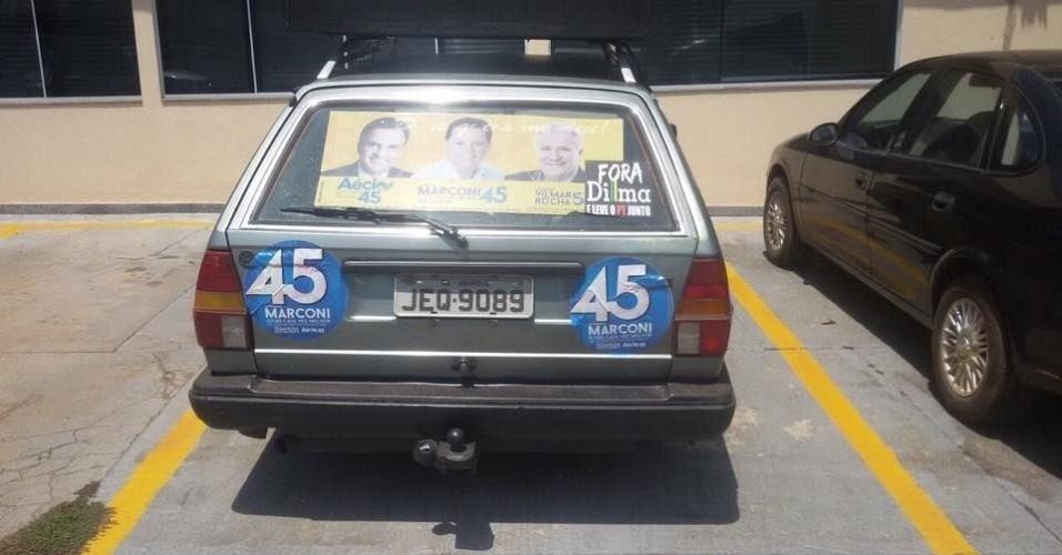 2.out.2014 - A Polícia Federal apreendeu carros de som de Marconi Perillo em Goiás por divulgação de mensagem contra candidatura petista