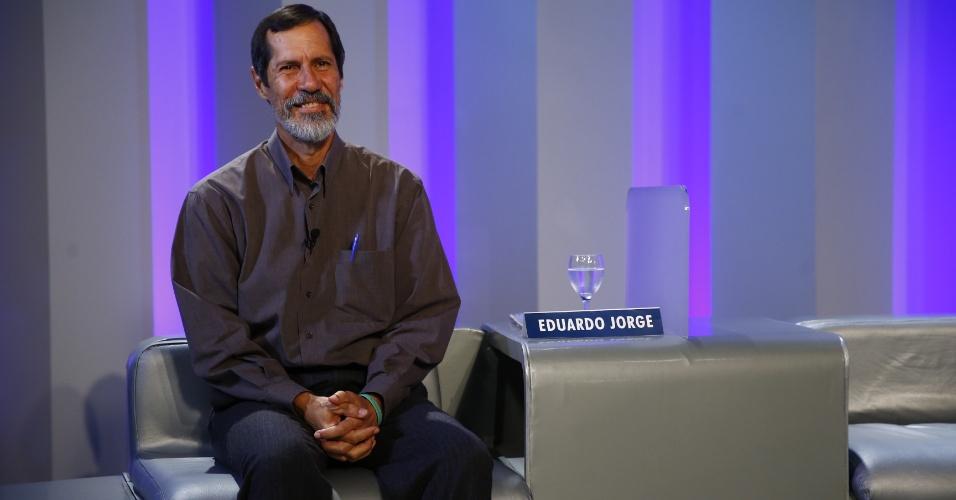 2.out.2014 - O candidato à Presidência Eduardo Jorge (PV) participa de debate eleitoral nos estúdios da TV Globo, no Rio de Janeiro, na noite desta quinta-feira