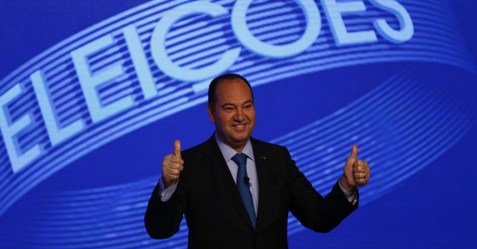 2.out.2014 - O candidato à Presidência Pastor Everaldo (PSC) participa de debate eleitoral nos estúdios da TV Globo, no Rio de Janeiro, na noite desta quinta-feira