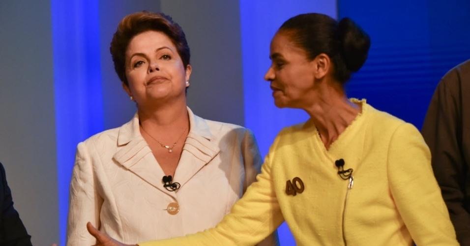 2.out.2014 - A candidata à Presidência da República Marina Silva (PSB) e a candidata à reeleição, presidente Dilma Rousseff (PT), particpam de debate promovido pela TV Globo