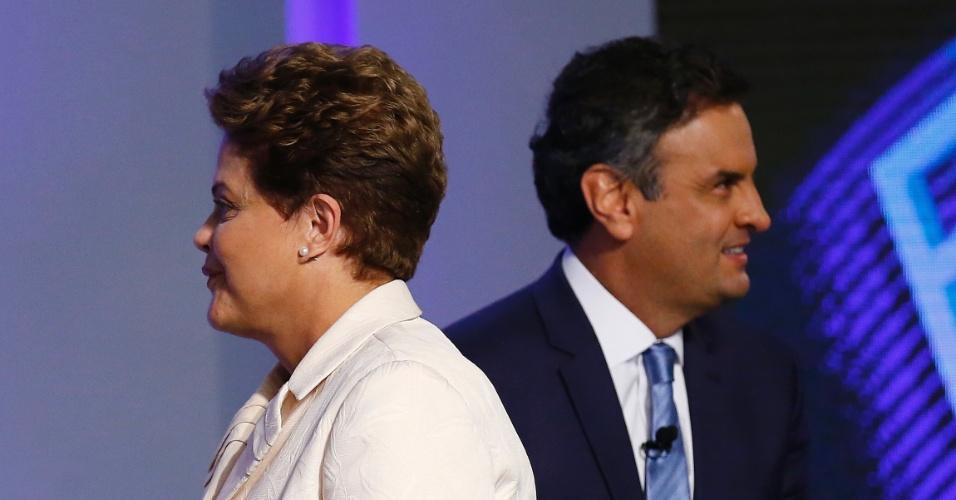 2.out.2014 - A candidata à reeleição, presidente Dilma Rousseff (PT), e o candidato Aécio Neves (PSDB) participam de debate promovido pela TV Globo na noite desta quinta-feira