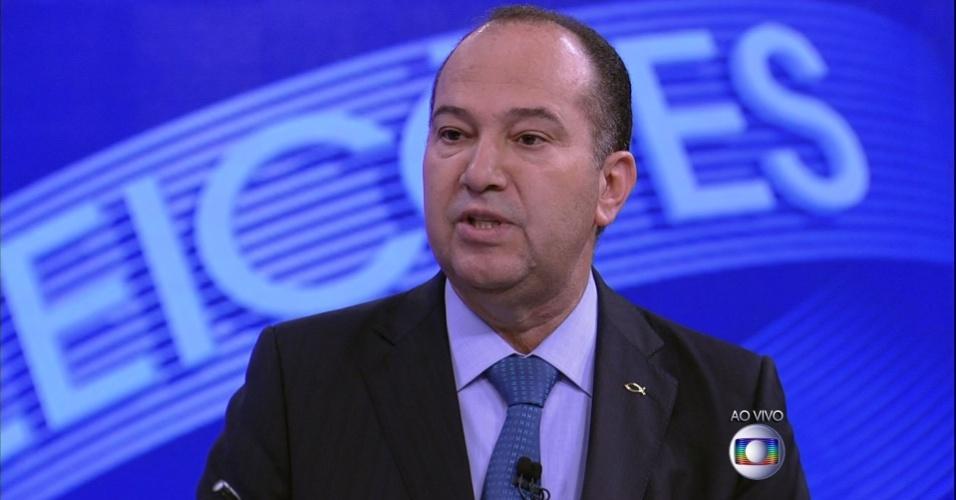 2.out.2014 - O candidato à Presidência da República Pastor Everaldo (PSC) participa de debate promovido pela TV Globo, na noite desta quinta-feira